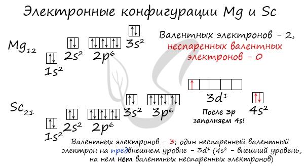 Электронные конфигурации магния и фтора и их валентные электроны