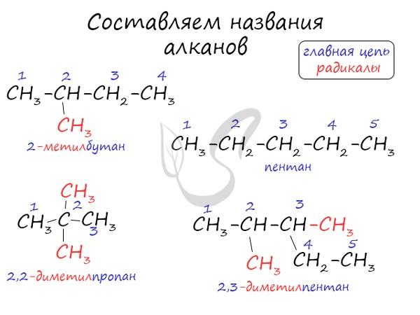 Составление названия алканов