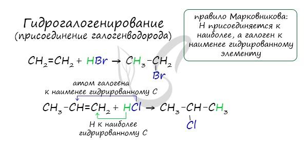 Гидрогалогенирование алкенов